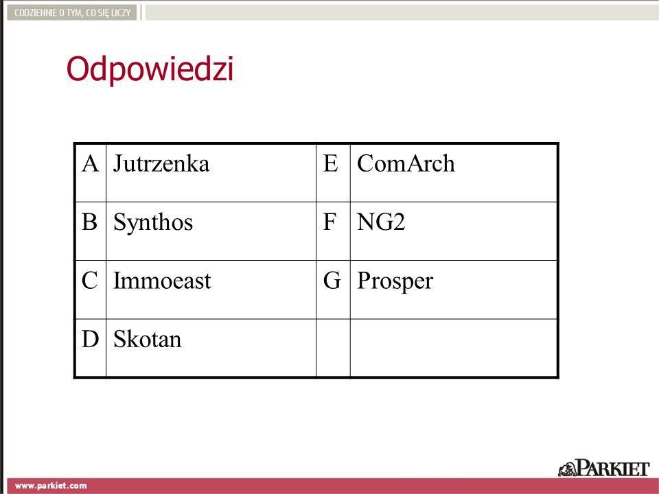 Odpowiedzi A Jutrzenka E ComArch B Synthos F NG2 C Immoeast G Prosper