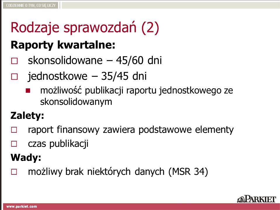 Rodzaje sprawozdań (2) Raporty kwartalne: skonsolidowane – 45/60 dni