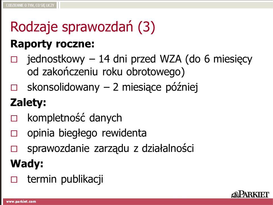 Rodzaje sprawozdań (3) Raporty roczne: