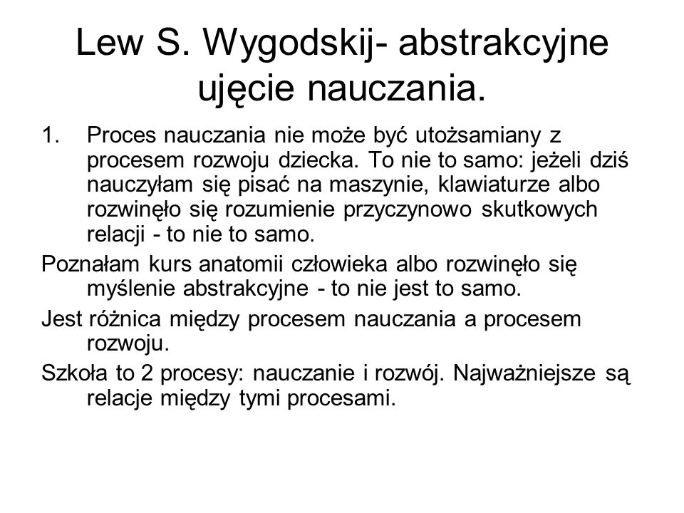 Lew S. Wygodskij- abstrakcyjne ujęcie nauczania.