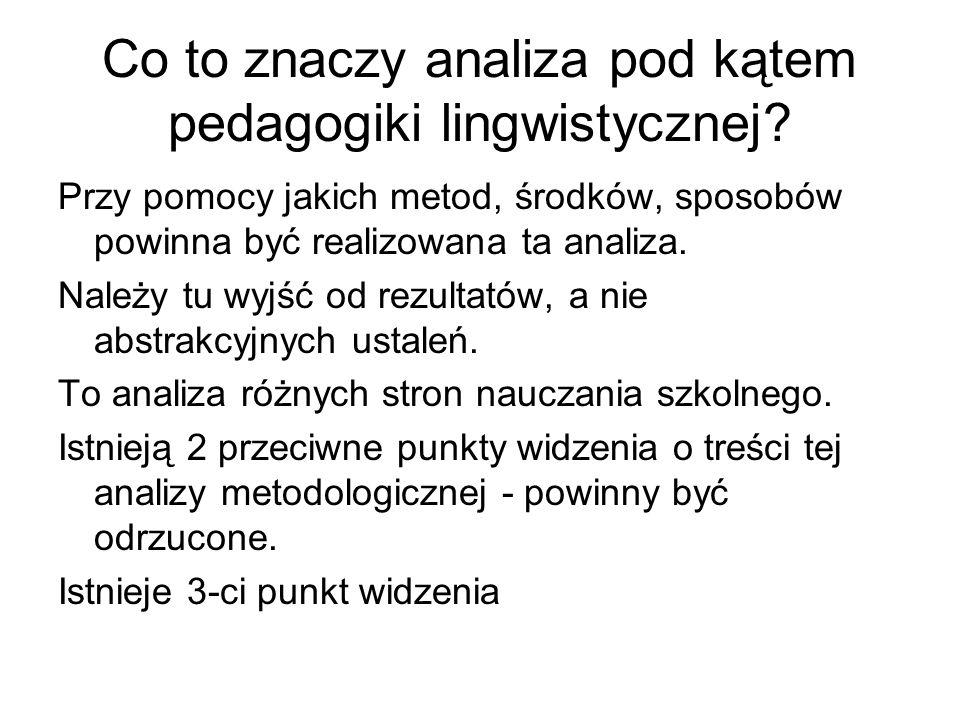 Co to znaczy analiza pod kątem pedagogiki lingwistycznej