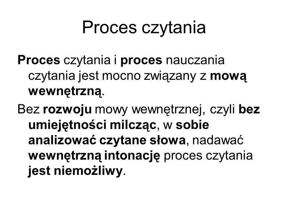 Proces czytania Proces czytania i proces nauczania czytania jest mocno związany z mową wewnętrzną.