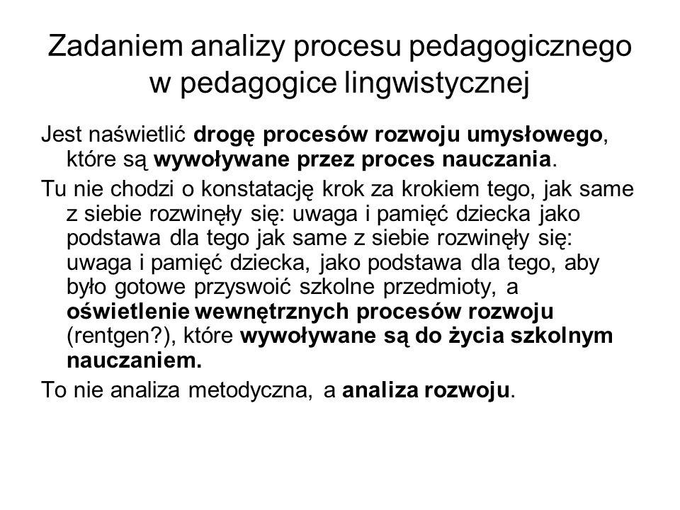 Zadaniem analizy procesu pedagogicznego w pedagogice lingwistycznej