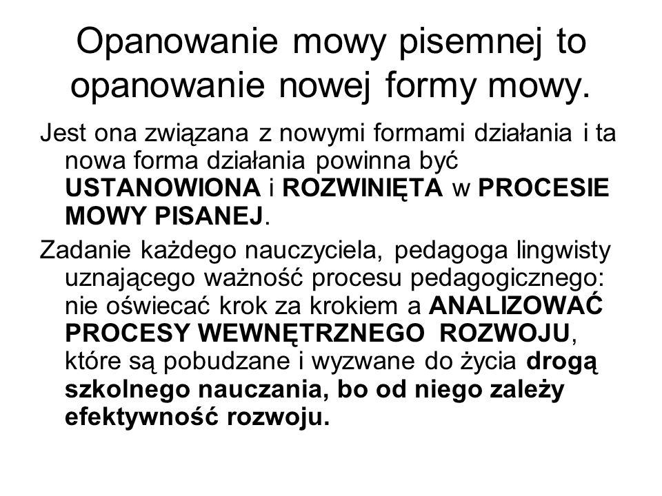 Opanowanie mowy pisemnej to opanowanie nowej formy mowy.