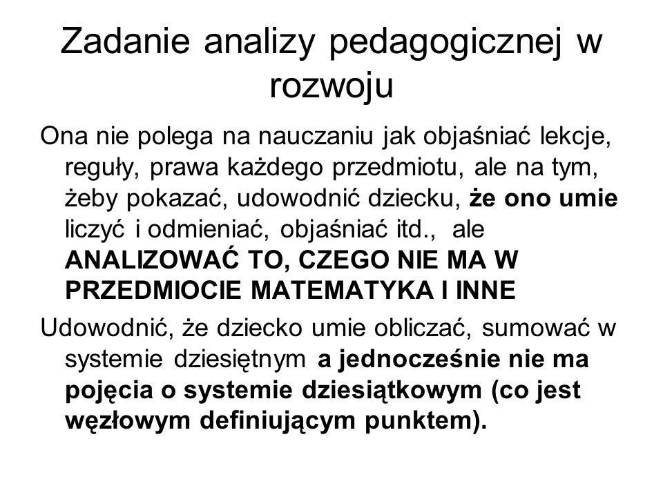 Zadanie analizy pedagogicznej w rozwoju