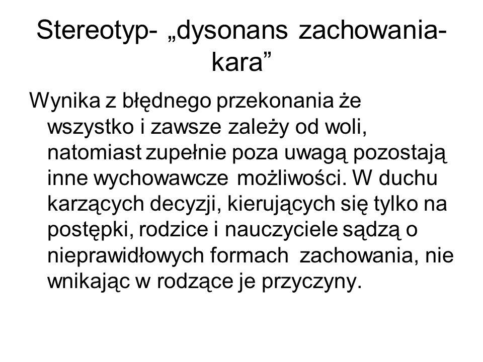 """Stereotyp- """"dysonans zachowania- kara"""