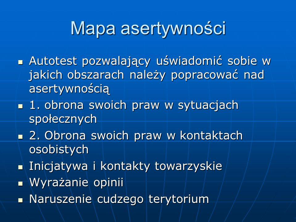 Mapa asertywności Autotest pozwalający uświadomić sobie w jakich obszarach należy popracować nad asertywnością.