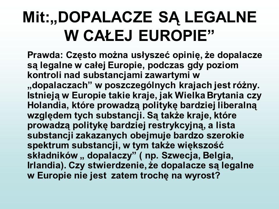 """Mit:""""DOPALACZE SĄ LEGALNE W CAŁEJ EUROPIE"""