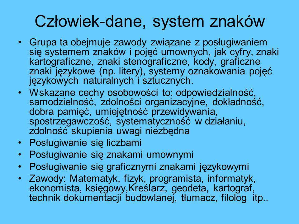 Człowiek-dane, system znaków