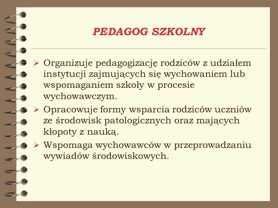 PEDAGOG SZKOLNY Organizuje pedagogizację rodziców z udziałem instytucji zajmujących się wychowaniem lub wspomaganiem szkoły w procesie wychowawczym.