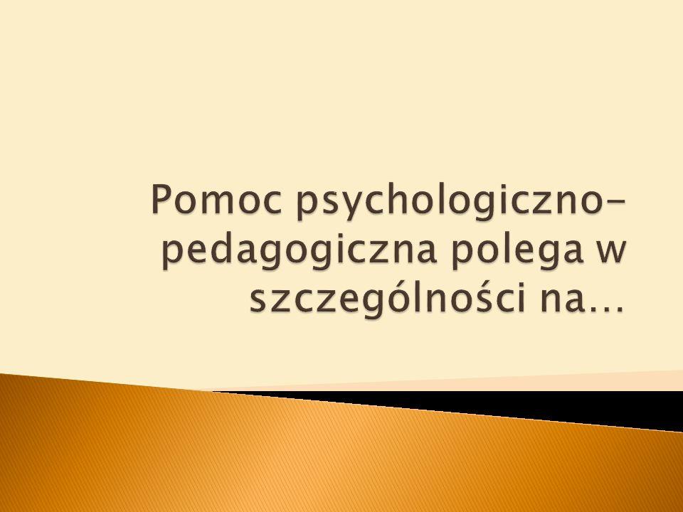 Pomoc psychologiczno-pedagogiczna polega w szczególności na…
