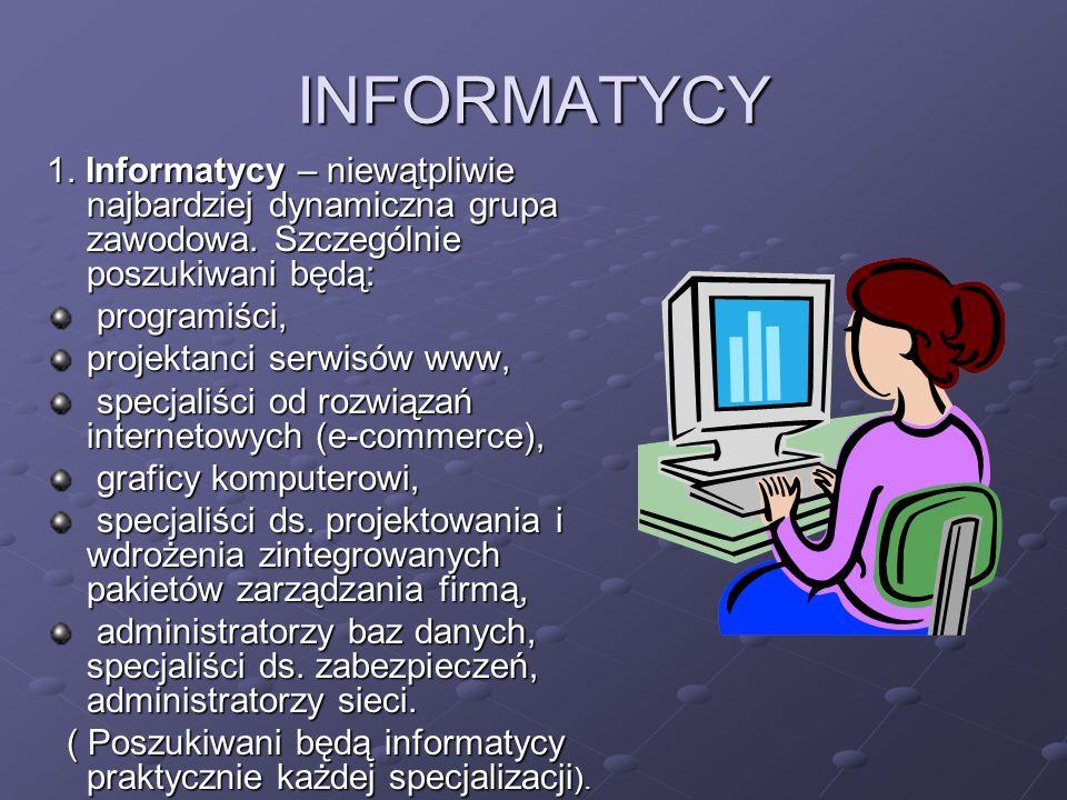 INFORMATYCY 1. Informatycy – niewątpliwie najbardziej dynamiczna grupa zawodowa. Szczególnie poszukiwani będą: