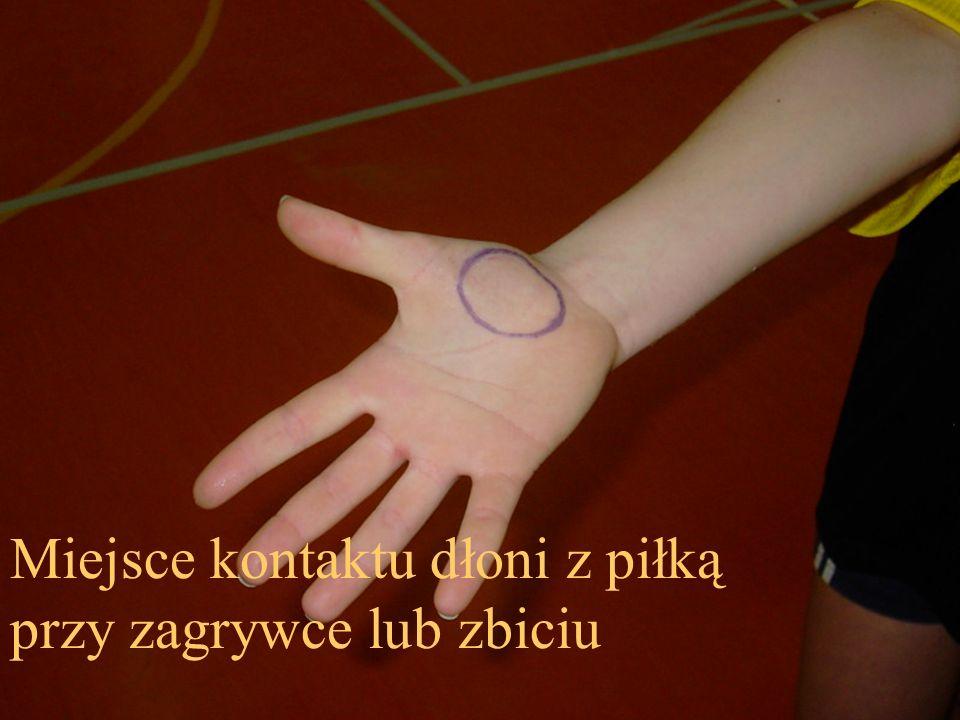 Miejsce kontaktu dłoni z piłką przy zagrywce lub zbiciu