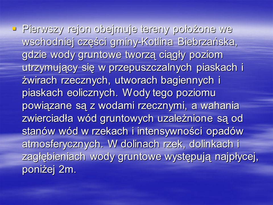 Pierwszy rejon obejmuje tereny położone we wschodniej części gminy-Kotlina Biebrzańska, gdzie wody gruntowe tworzą ciągły poziom utrzymujący się w przepuszczalnych piaskach i żwirach rzecznych, utworach bagiennych i piaskach eolicznych.