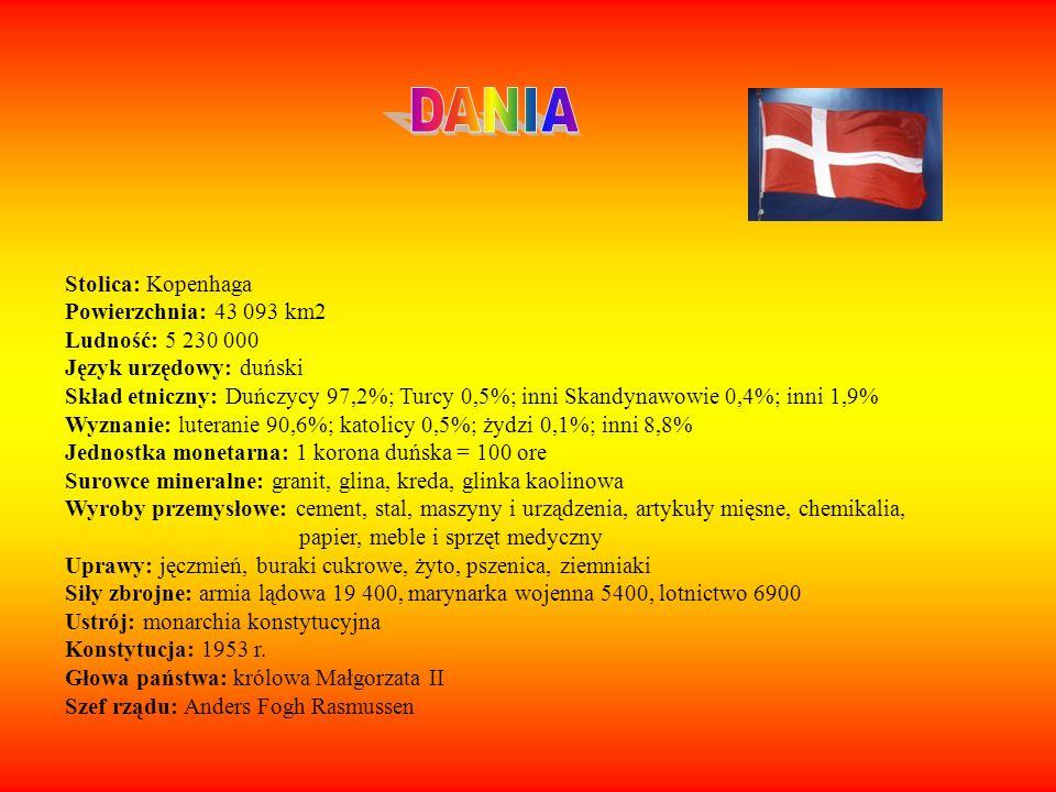 DANIA Stolica: Kopenhaga Powierzchnia: 43 093 km2 Ludność: 5 230 000