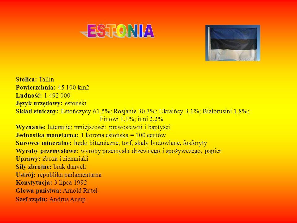 ESTONIA Stolica: Tallin Powierzchnia: 45 100 km2 Ludność: 1 492 000