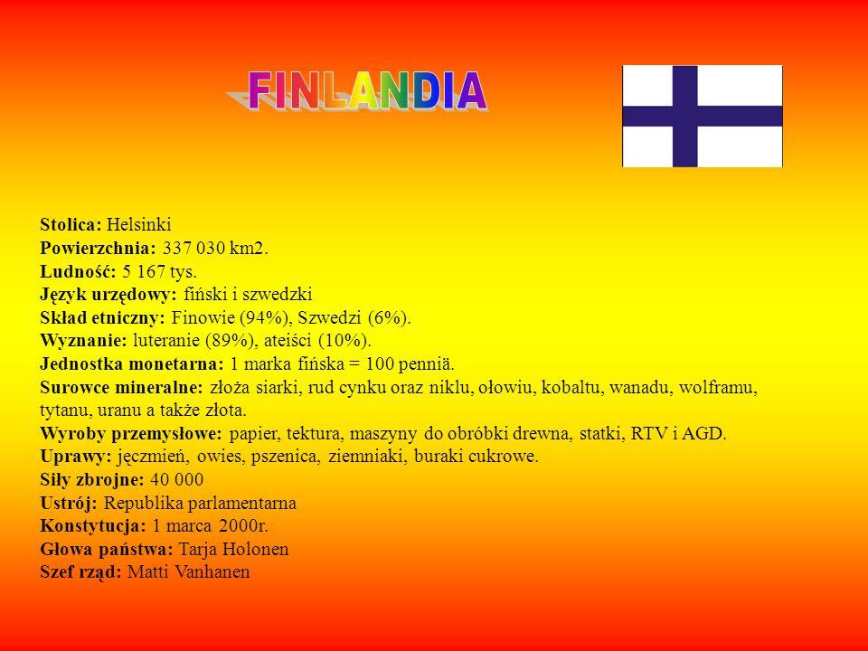 FINLANDIA Stolica: Helsinki Powierzchnia: 337 030 km2.