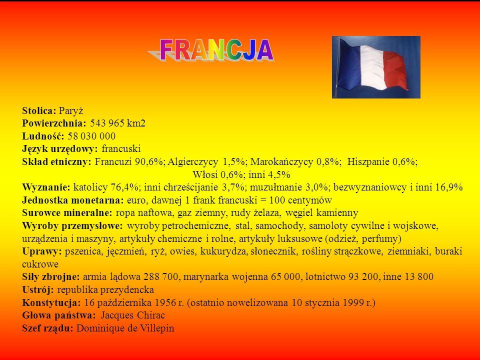 FRANCJA Stolica: Paryż Powierzchnia: 543 965 km2 Ludność: 58 030 000