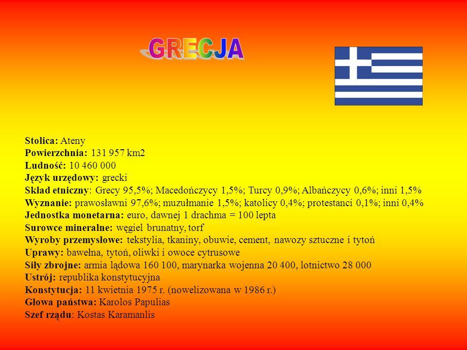 GRECJA Stolica: Ateny Powierzchnia: 131 957 km2 Ludność: 10 460 000