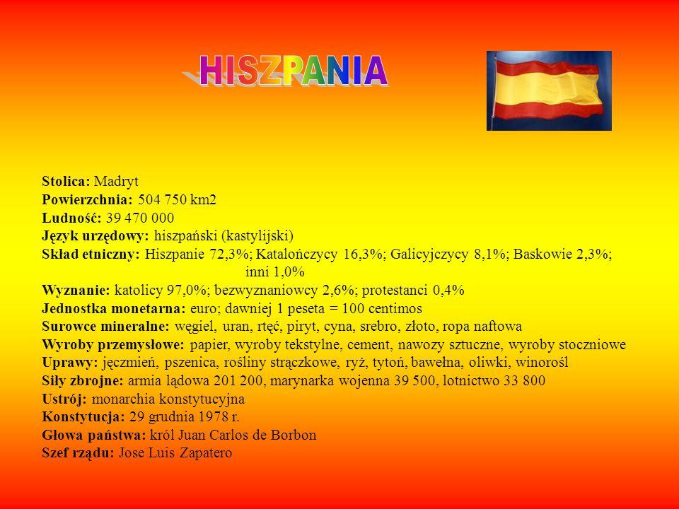 HISZPANIA Stolica: Madryt Powierzchnia: 504 750 km2