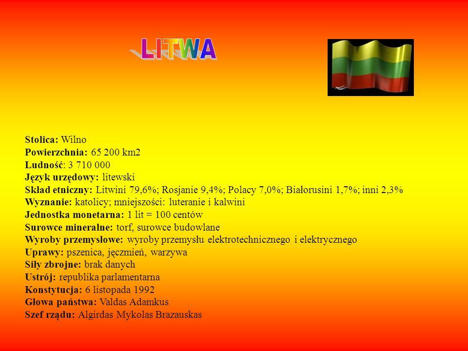 LITWA Stolica: Wilno Powierzchnia: 65 200 km2 Ludność: 3 710 000