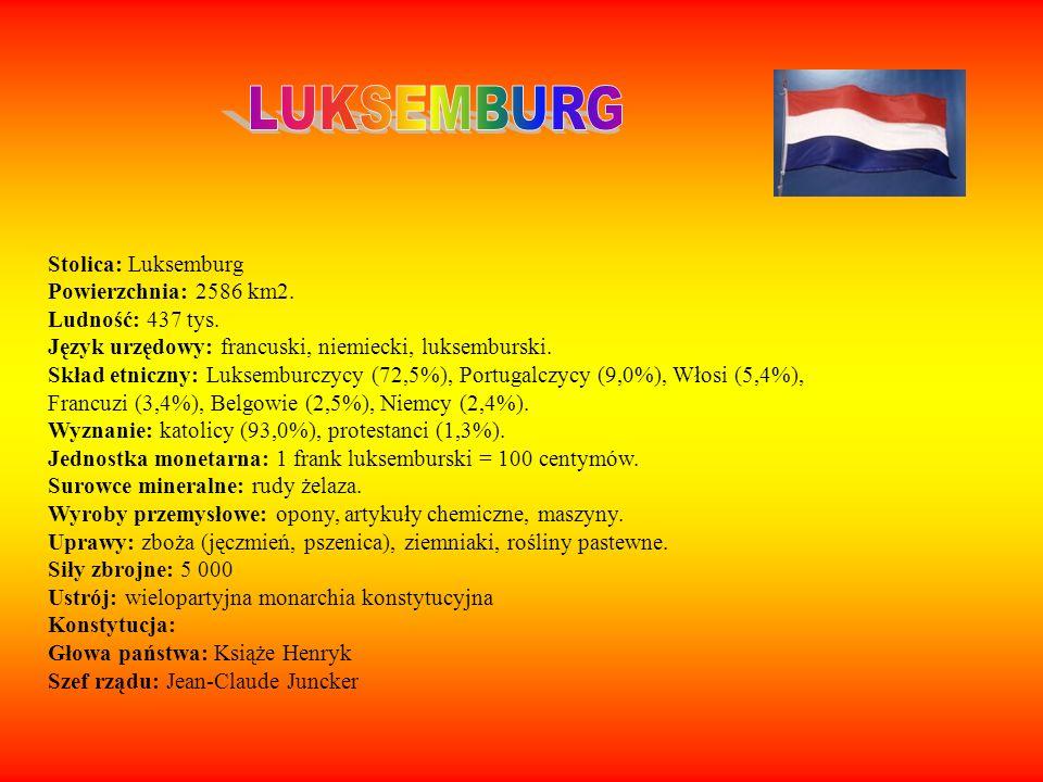 LUKSEMBURG Stolica: Luksemburg Powierzchnia: 2586 km2.