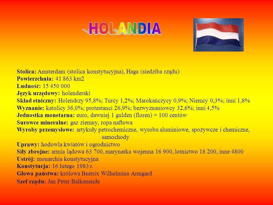 HOLANDIA Stolica: Amsterdam (stolica konstytucyjna), Haga (siedziba rządu) Powierzchnia: 41 863 km2.