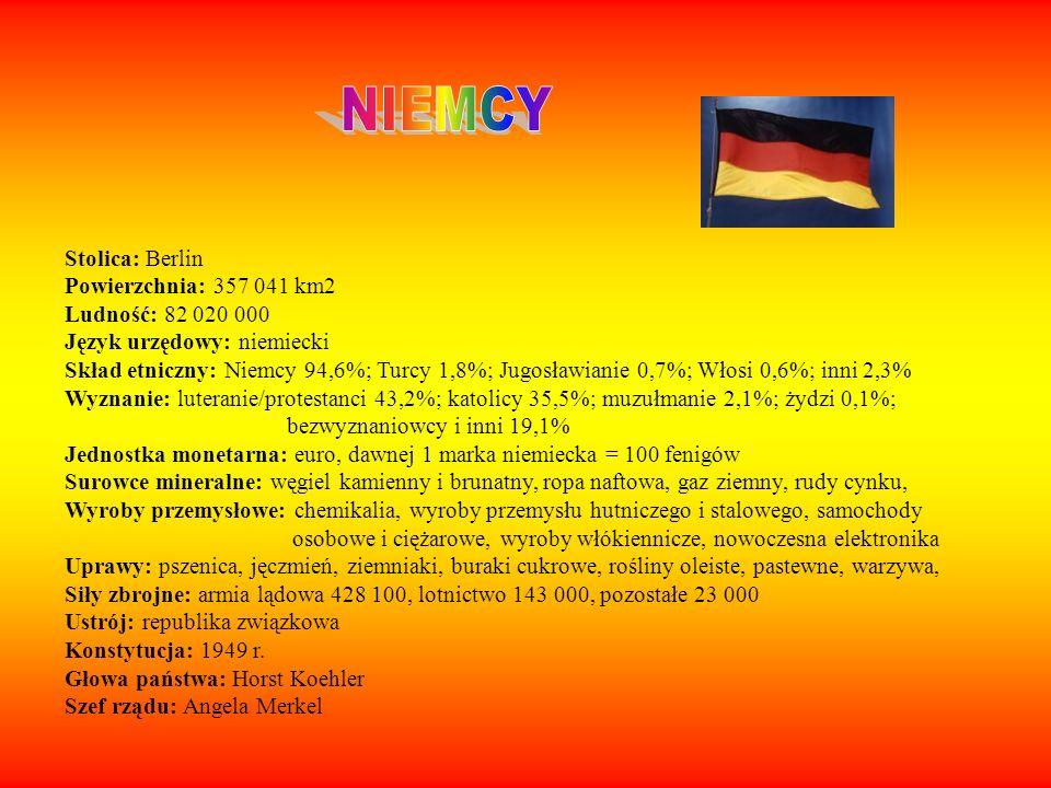 NIEMCY Stolica: Berlin Powierzchnia: 357 041 km2 Ludność: 82 020 000