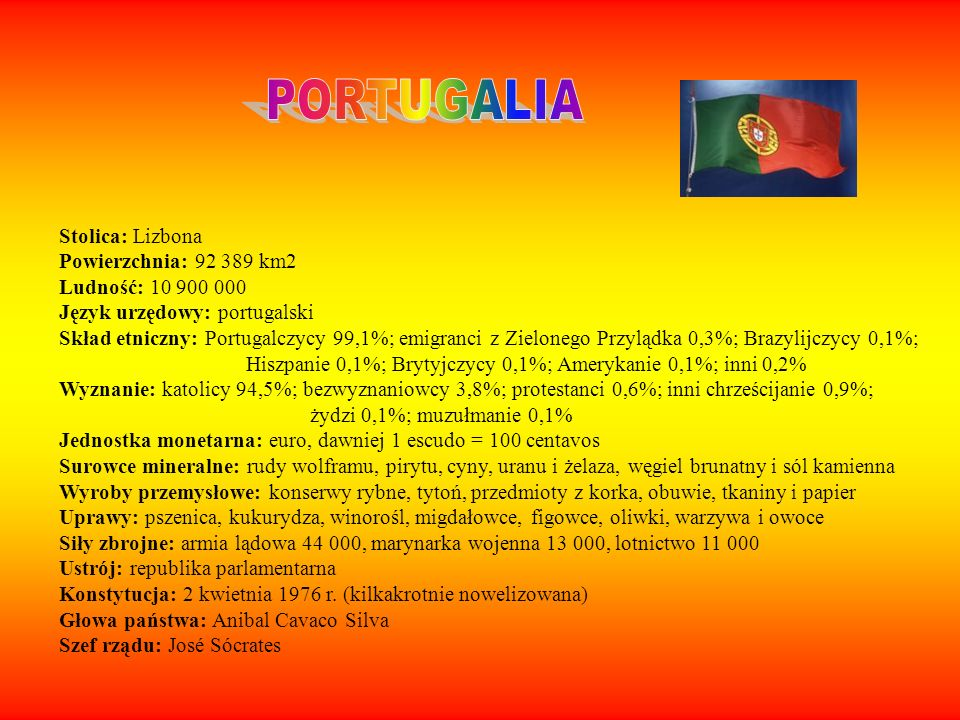 PORTUGALIA Stolica: Lizbona Powierzchnia: 92 389 km2