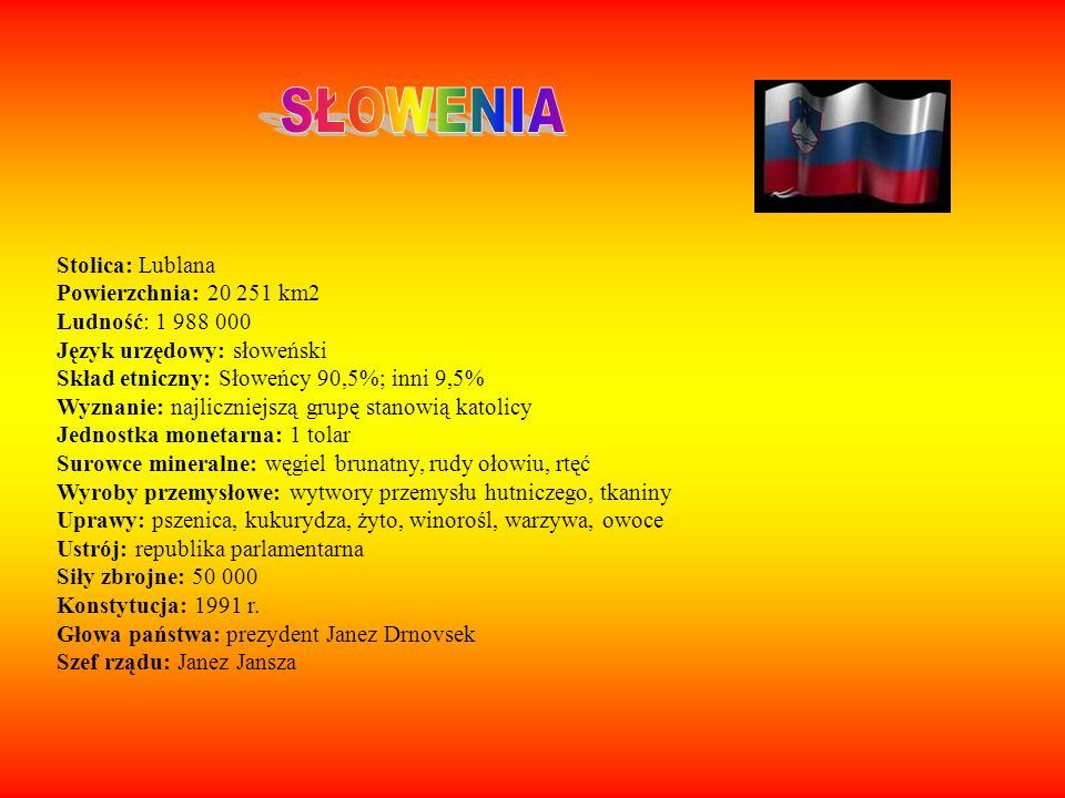 SŁOWENIA Stolica: Lublana Powierzchnia: 20 251 km2 Ludność: 1 988 000