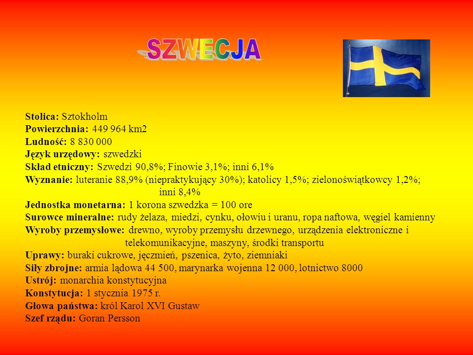 SZWECJA Stolica: Sztokholm Powierzchnia: 449 964 km2