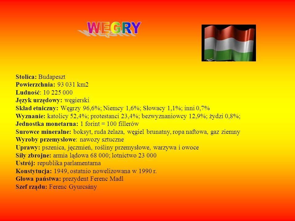 WĘGRY Stolica: Budapeszt Powierzchnia: 93 031 km2 Ludność: 10 225 000