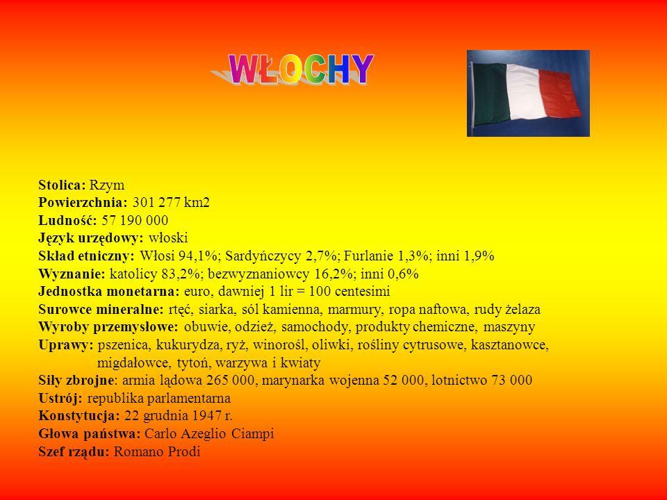 WŁOCHY Stolica: Rzym Powierzchnia: 301 277 km2 Ludność: 57 190 000