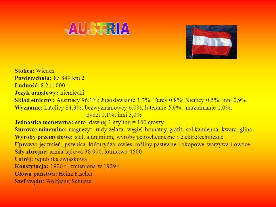 AUSTRIA Stolica: Wiedeń Powierzchnia: 83 849 km 2 Ludność: 8 211 000