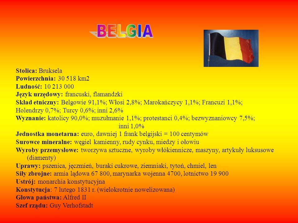 BELGIA Stolica: Bruksela Powierzchnia: 30 518 km2 Ludność: 10 213 000