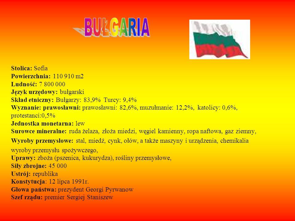 BUŁGARIA Stolica: Sofia Powierzchnia: 110 910 m2 Ludność: 7 800 000