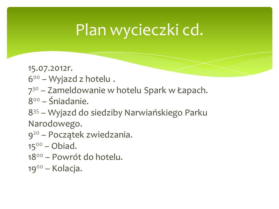 Plan wycieczki cd.