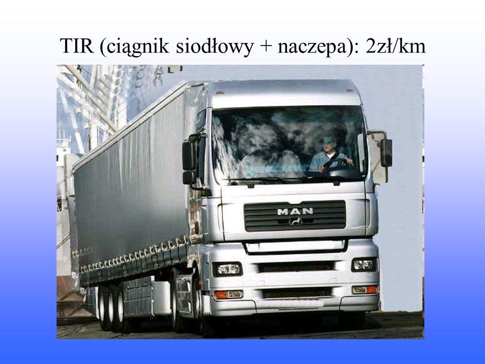 TIR (ciągnik siodłowy + naczepa): 2zł/km