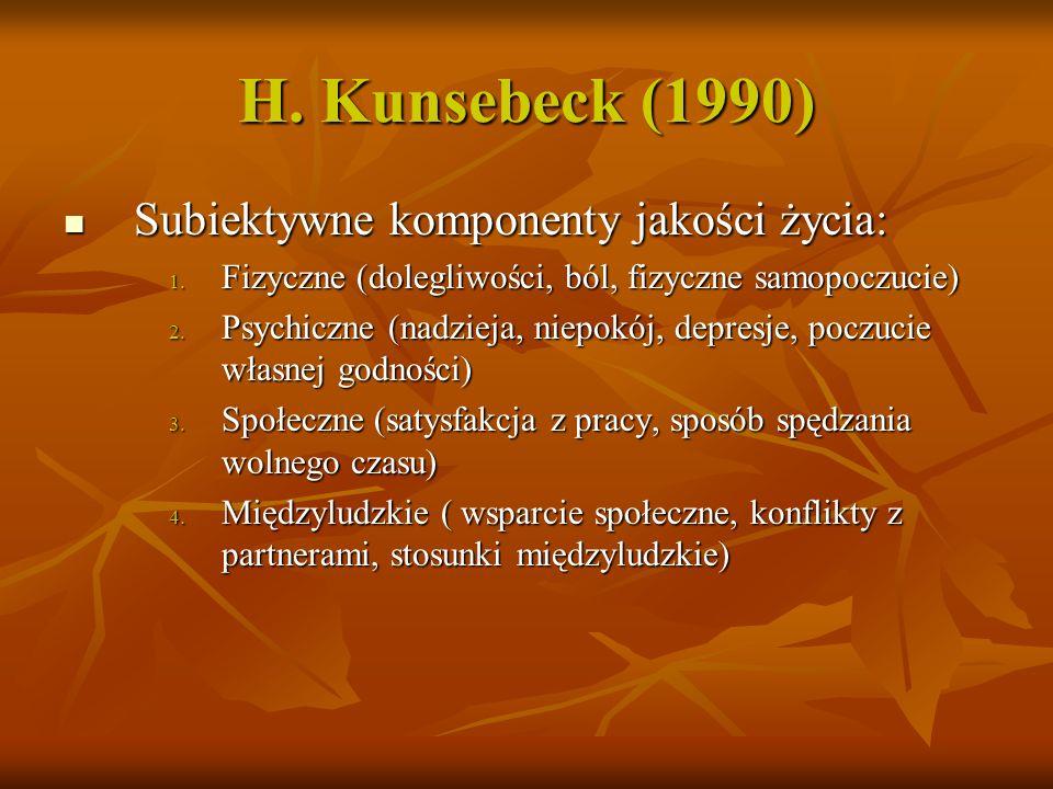 H. Kunsebeck (1990) Subiektywne komponenty jakości życia: