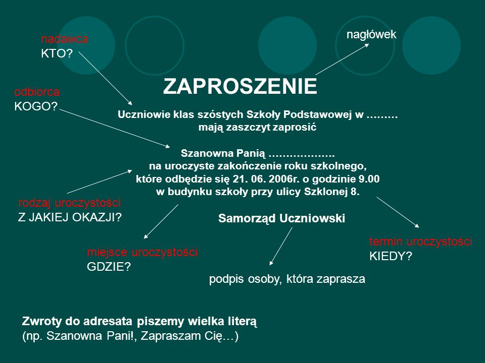 ZAPROSZENIE nagłówek nadawca KTO odbiorca KOGO Samorząd Uczniowski
