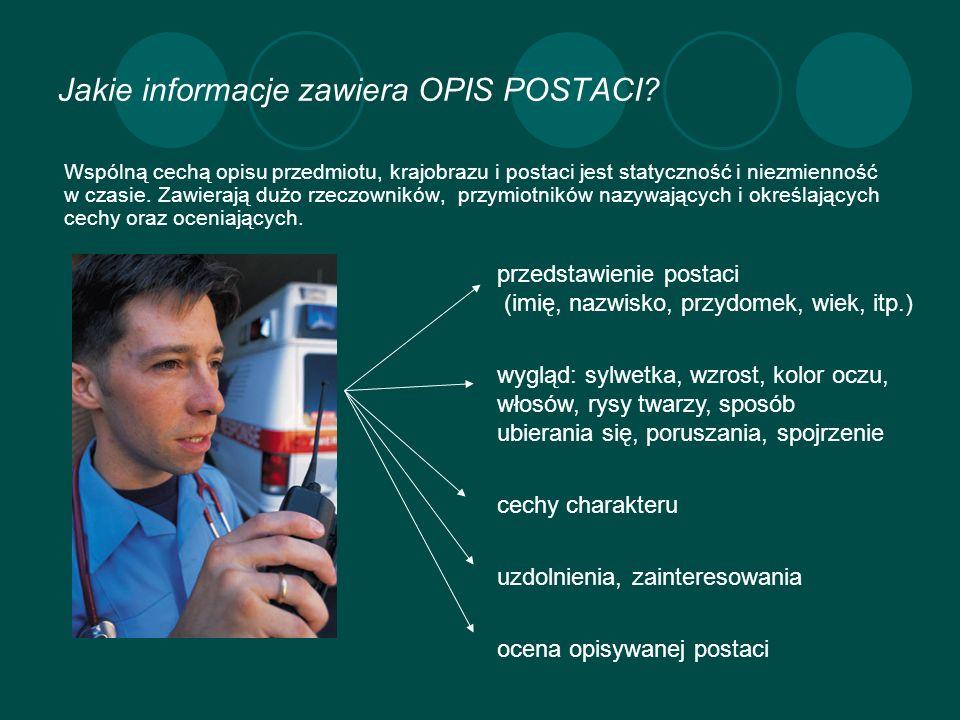 Jakie informacje zawiera OPIS POSTACI