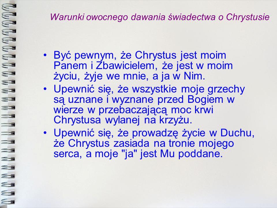 Warunki owocnego dawania świadectwa o Chrystusie