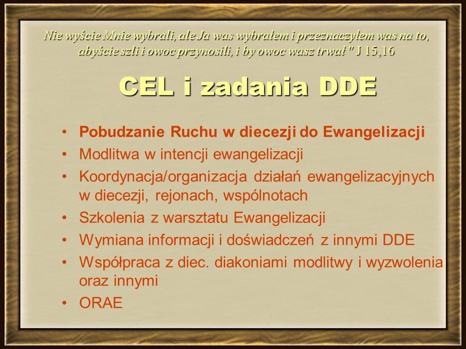 CEL i zadania DDE Pobudzanie Ruchu w diecezji do Ewangelizacji