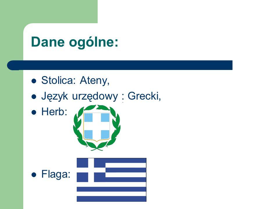 Dane ogólne: Stolica: Ateny, Język urzędowy : Grecki, Herb: Flaga: