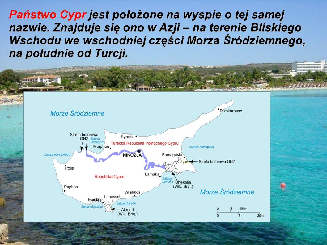 Państwo Cypr jest położone na wyspie o tej samej nazwie