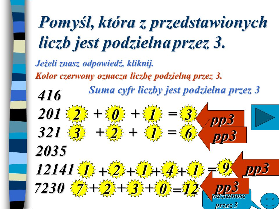 Pomyśl, która z przedstawionych liczb jest podzielna przez 3.