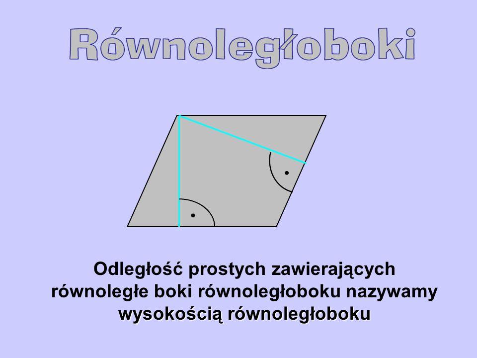 • • Odległość prostych zawierających równoległe boki równoległoboku nazywamy wysokością równoległoboku.