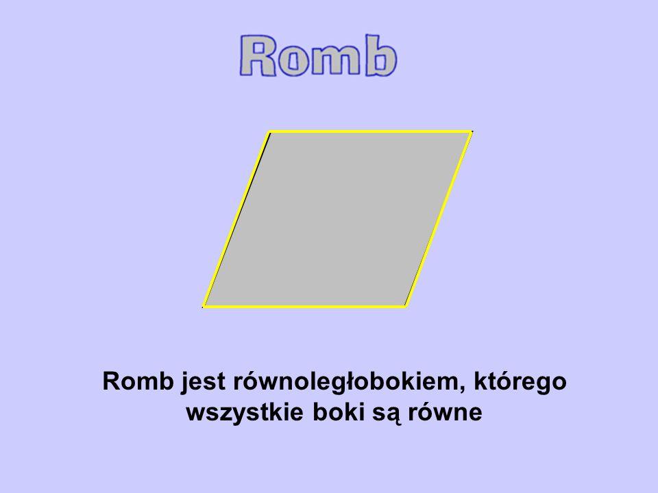 Romb jest równoległobokiem, którego wszystkie boki są równe