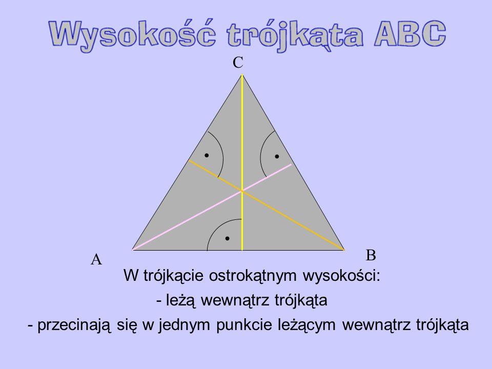 W trójkącie ostrokątnym wysokości: