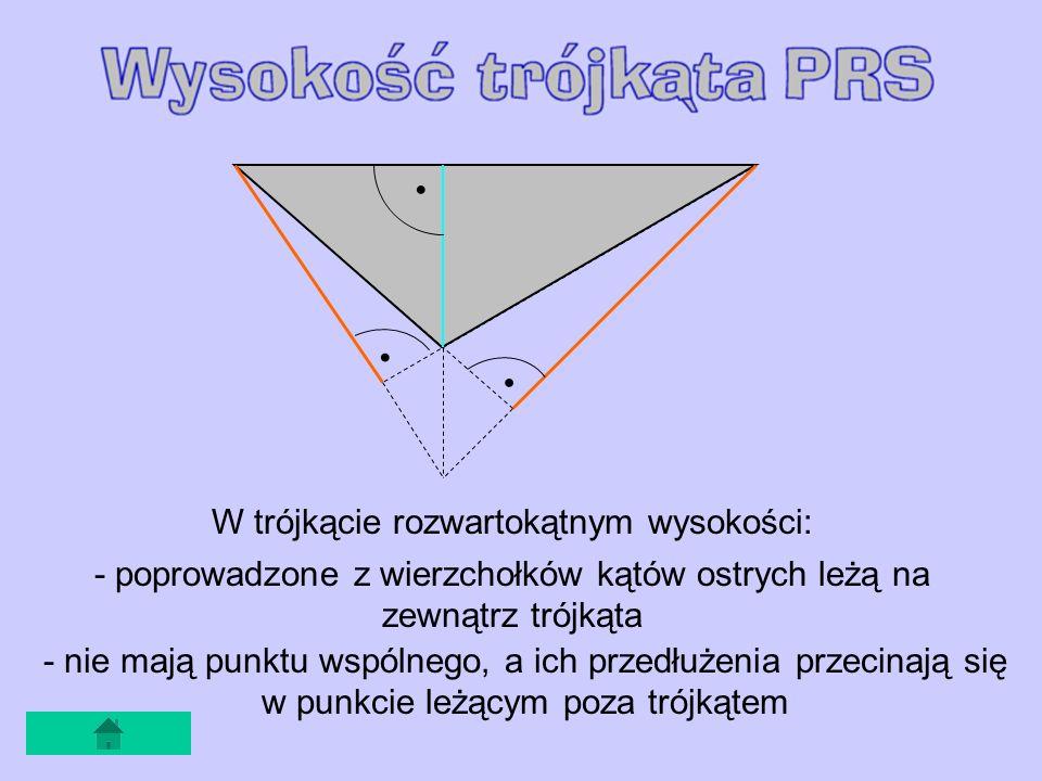 W trójkącie rozwartokątnym wysokości: